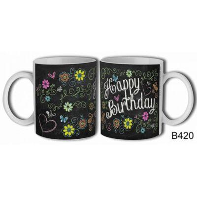 Bögre - Happy Birthday - Fekete, virágos