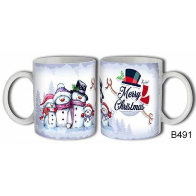 Hóember Család Merry Christmas Bögre