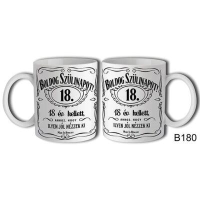 Jack Daniels Boldog 18. Születésnapot felíratú bögre