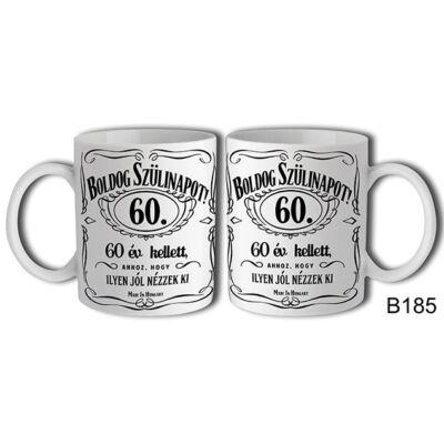 Jack Daniels Boldog 60. Születésnapot felíratú bögre