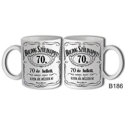 Jack Daniels Boldog 70. Születésnapot felíratú bögre