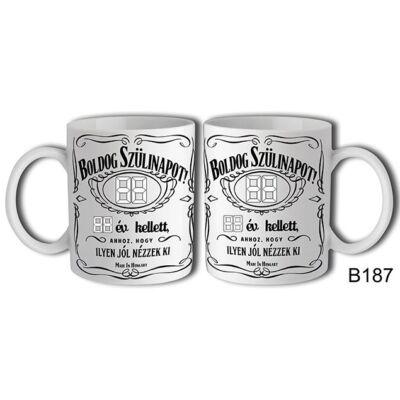 Jack Daniels Boldog Születésnapot Számozható bögre