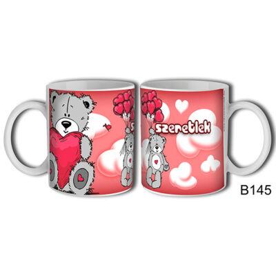 Maci piros lufikkal - Szeretlek felíratú bögre