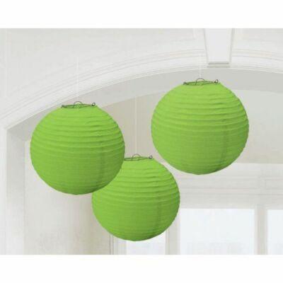 Zöld Színű Parti Gömb Lampion - 24 cm, 3 db-os