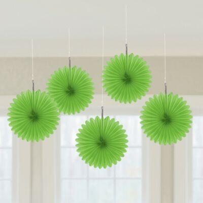 Zöld Legyezők Függő Dekoráció - 15,2 cm, 5 db-os