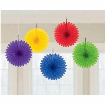 Rainbow Vegyes Színű Legyezők Függő Dekoráció - 15,2 cm, 5 db-os