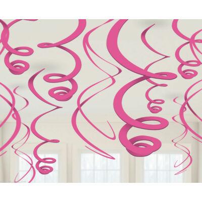 Rózsaszín Spirális Függő Dekoráció - 56 cm, 12 db-os