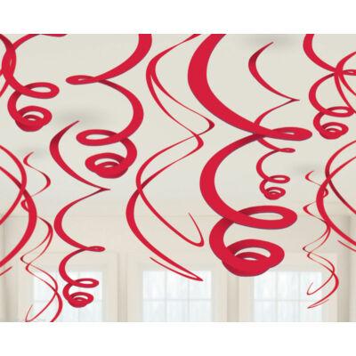 Piros Spirális Függő Dekoráció - 56 cm, 12 db-os