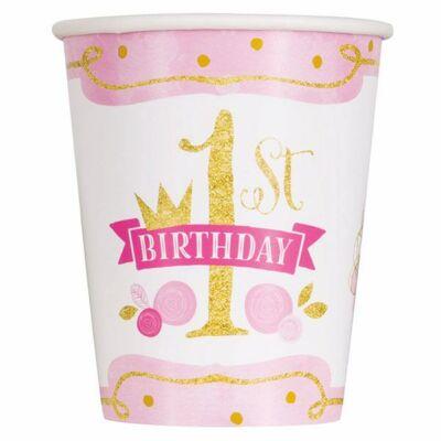 First Birthday Pink és Arany - Első Szülinapi Parti Pohár - 8 db-os, 270 ml