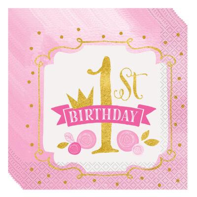 First Birthday Pink és Arany - Első Szülinapi Parti Szalvéta - 33 cm x 33 cm, 16 db-os