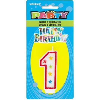 Csillámos Csillagos 1-es számgyertya és Happy Birthday Tortadísz