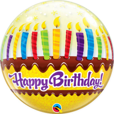 22 inch-es Bubbles Birthday Candles and Frosting Szülinapi Bubbles Lufi