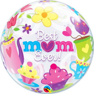 22 inch-es Best MOM ever! Tea Time Anyák Napi Bubble Lufi