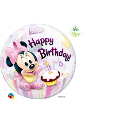 22 inch-es Bubbles Disney Bubbles Minnie Mouse Első Szülinapi Lufi