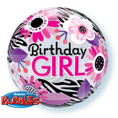22 inch-es Birthday Girl Virágos Zebra Strips Szülinapi Bubble Lufi