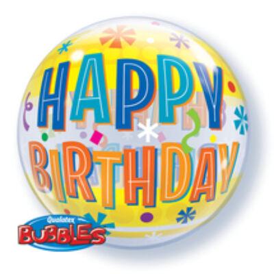 22 inch-es Birthday Fun& Yellow Brands Szülinapi Bubble Lufi