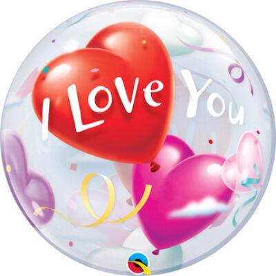 22 inch-es I Love You Heart Szerelmes Bubbles Lufi