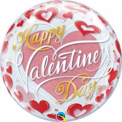 22 inch-es Valentine's Red Hearts Szerelmes Bubbles Lufi