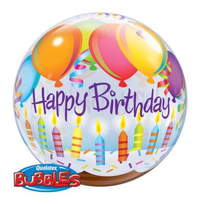 22 inch-es Birthday Balloons & Candles Szülinapi Bubble Lufi