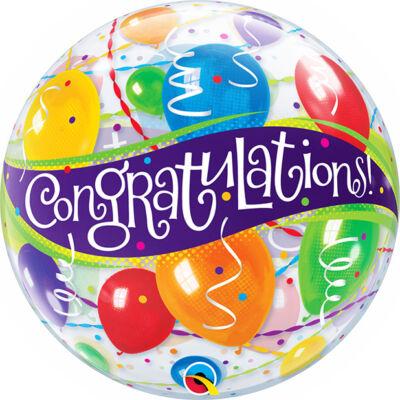 22 inch-es Congratulations Balloons - Gratulálunk Ballagási Bubble Lufi