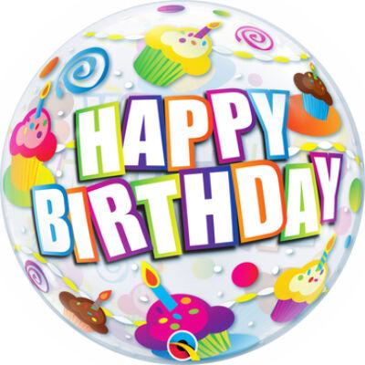 22 inch-es Bubbles Birthday Colourful Cupcakes Szülinapi Bubbles Lufi
