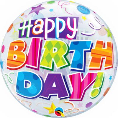 22 inch-es Birthday Party Patterns Szülinapi Bubble Lufi