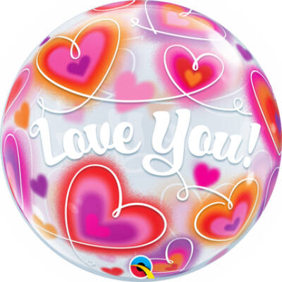22 inch-es Love You Doodle Hearst Szerelmes Bubble Lufi