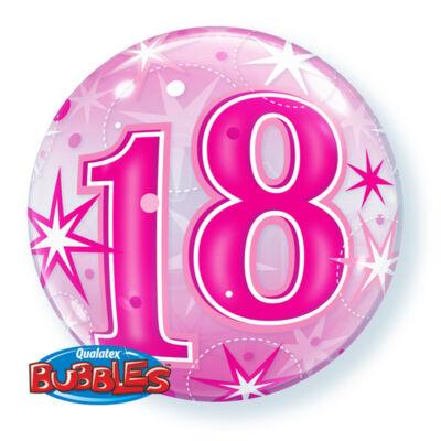 22 inch-es Birthday Starburst Sparkle 18 Pink Szülinapi Számos Bubble Lufi