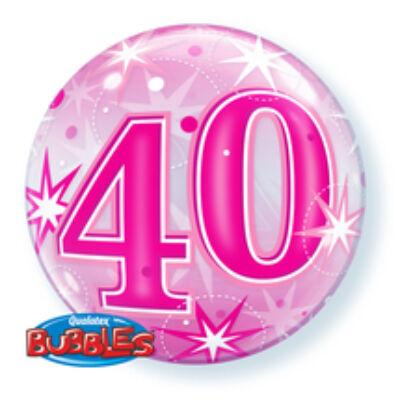 22 inch-es Birthday Starburst Sparkle 40 Pink Szülinapi Számos Bubble Lufi