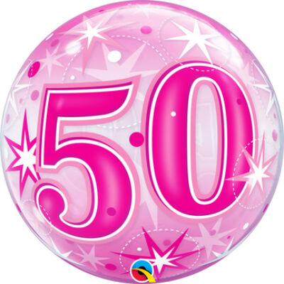 22 inch-es Birthday Starburst Sparkle 50 Pink Szülinapi Számos Bubble Lufi