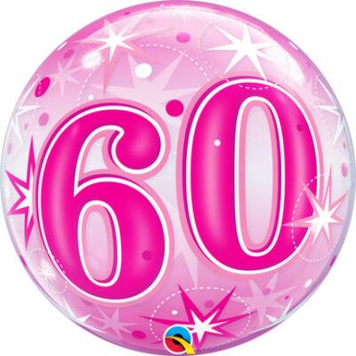 22 inch-es Birthday Starburst Sparkle 60 Pink Szülinapi Számos Bubble Lufi