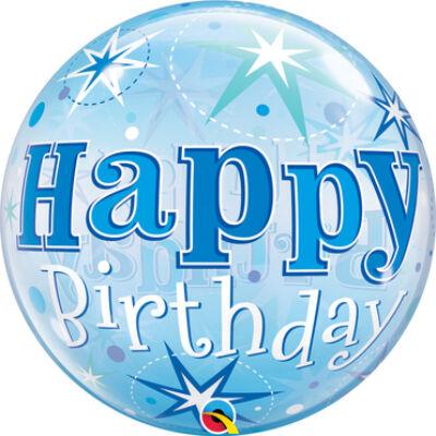 22 inch-es Birthday Starburst Sparkle Blue Szülinapi Bubble Lufi