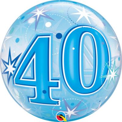 22 inch-es Birthday Starburst Sparkle 40 Blue Szülinapi Számos Bubble Lufi