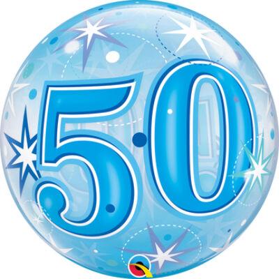 22 inch-es Birthday Starburst Sparkle 50 Blue Szülinapi Számos Bubble Lufi