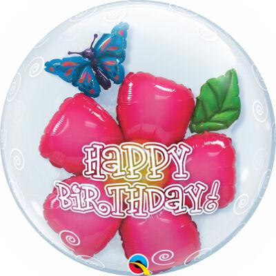 24 inch-es Bubbles Birthday Flower Szülinapi Double Bubble Lufi