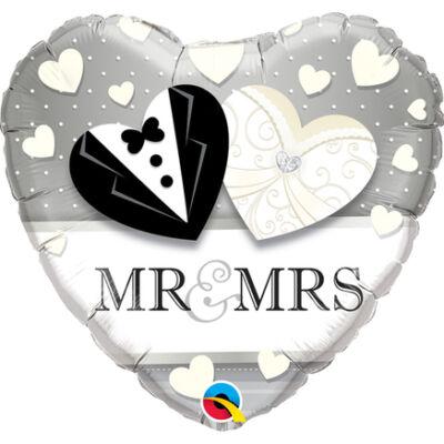 Mr. & Mrs. Wedding Esküvői Szív Fólia Léggömb