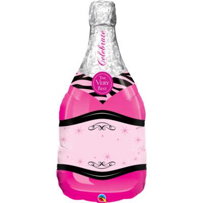Pezsgősüveg - Rózsaszín Fólia Léggömb