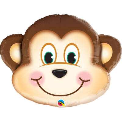 Mosolygós Majom Arc - Mischievous Monkey Super Shape Fólia Léggömb