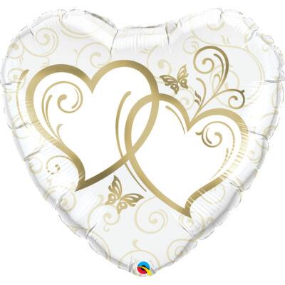 Entwined Hearts Gold Esküvői Szív Fólia Léggömb