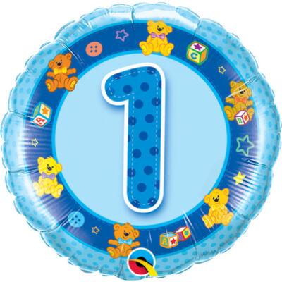 1. Születésnapi Kék Macik Számos Fólia Léggömb