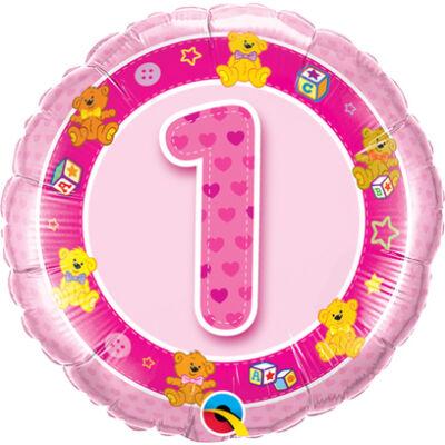 1. Születésnapi Rózsaszín Macik Számos Fólia Léggömb