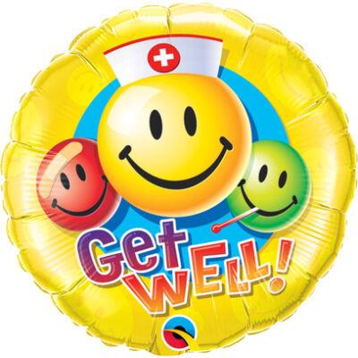 Jobbulást - Get Well Smile Face Fólia Léggömb