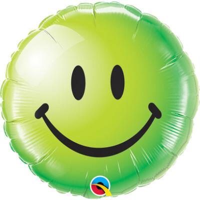 Zöld Mosolygós Arc - Smile Face Green Fólia Léggömb