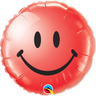Piros Mosolygós Arc - Smile Face Red Fólia Léggömb