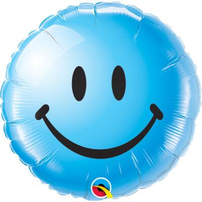 Kék Mosolygós Arc - Smile Face Blue Fólia Léggömb