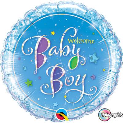 Welcome Baby Boy Stars Holographic Fólia Léggömb Babaszületésre