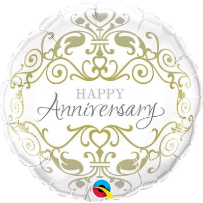 Happy Anniversary - Boldog Évfordulót Arany Inda Mintás Esküvői Fólia Léggömb