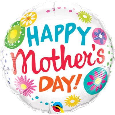 Mother's Day Floral Circles (Anyák Napi) Fólia Léggömb