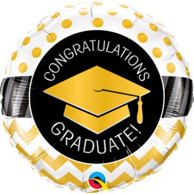 Graduate Arany Diplomaosztó Kalap Mintás Ballagási Fólia Léggömb