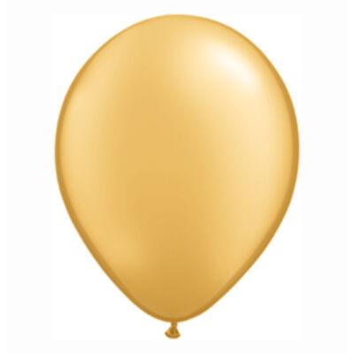 Arany Színű Gyöngyház Fényű Kerek Gumi Lufi - 28 cm